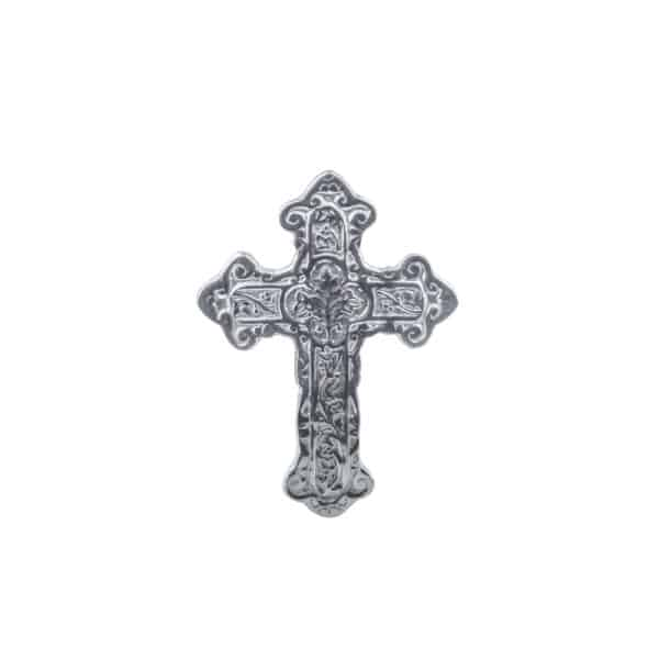 Si-Como-No-hand-crafted-Mexican-pewter-wall-cross-clover-design