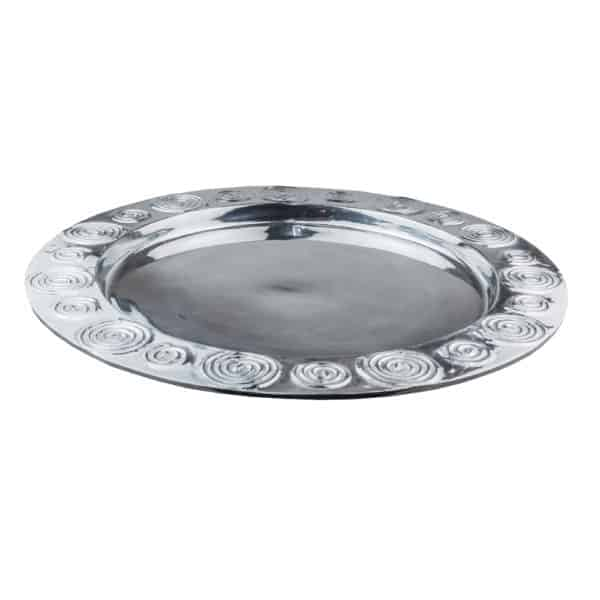 Si-Como-No-hand-crafted-Mexican-pewter-round-swirl-platter-Xlarge