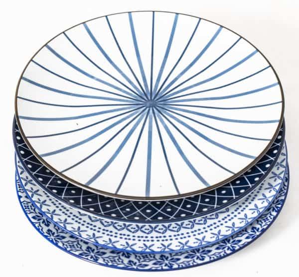 patterned-porcelain-dinner-plate- set-of-4-blue