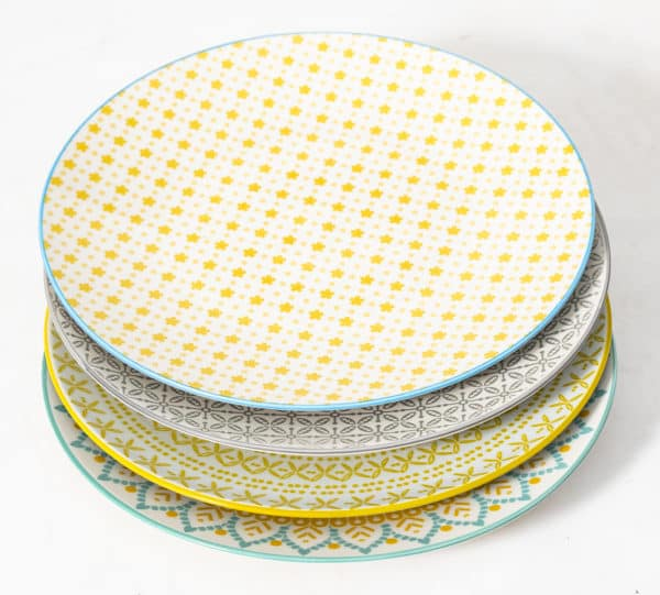 patterned-porcelain-dinner-plate- set-of-4-yellow