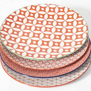 patterned-porcelain-dinner-plate- set-of-4-orange