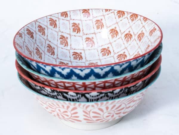 patterned-porcelain-large-bowl- set-of-4-20.5- cm-orange