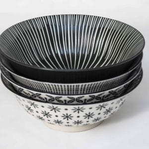 patterned-porcelain-large-bowl- set-of-4-20.5- cm-black