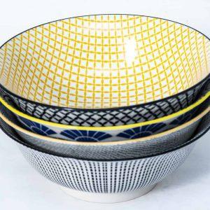 patterned-porcelain-medium-bowl- set-of-4-16cm-yellow