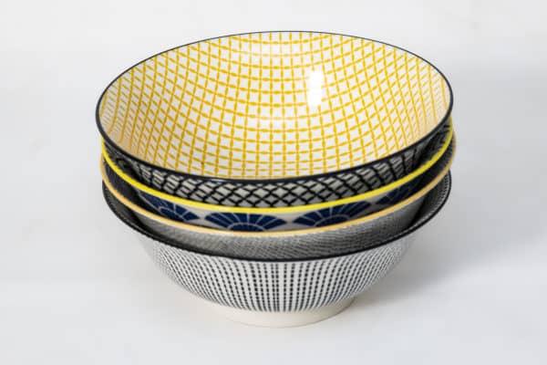 patterned-porcelain-large-bowl- set-of-4-20.5- cm-yellow