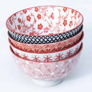 patterned-porcelain-small-bowl- set-of-4-12cm-orange