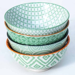 patterned-porcelain-small-bowl- set-of-4-12cm-green
