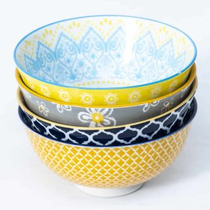 patterned-porcelain-small-bowl- set-of-4-12cm-yellow