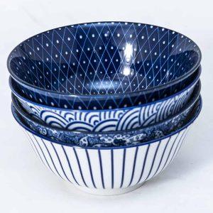 patterned-porcelain-medium-bowl- set-of-4-16cm-blue