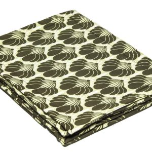 Hand-Made-Cotton-Place-Mats-Khaki-and-white-Floral-on lime Green-set-of-6