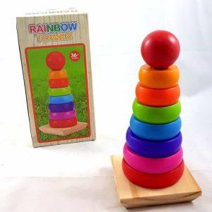 Wooden- Rainbow-Tower-Round