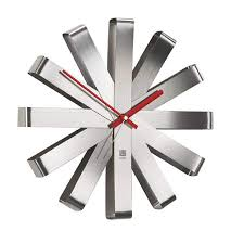Umbra- Ribbon- Silver-Wall-Clock-30-cm