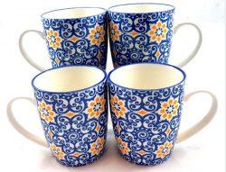 Blue-and- Yellow- Floral-Mug