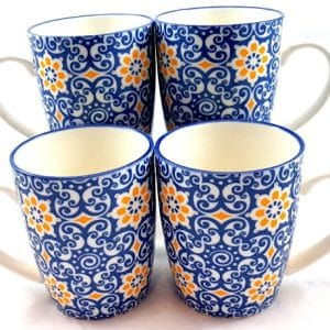 Blue-and- Yellow- Floral-Mug
