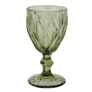 Pressed-Glass-Goblet-Green
