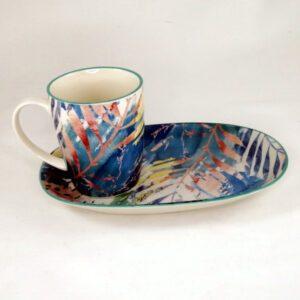 Art-Mug-Platter-Blue-Leaf