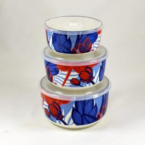 Dynamic Food Containers - Red Flower - Set of 3