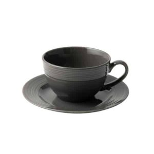 Jenna Clifford - Embossed Lines Dark Grey Cup & Saucer -Set of 4