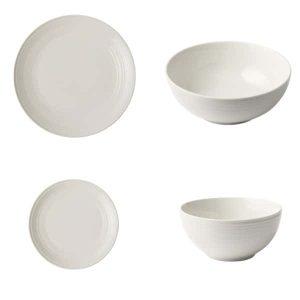 Jenna - Clifford - Embossed Lines - Off-White - Dinner Set